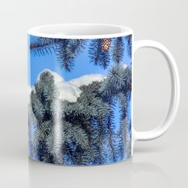 The branch of spruce and cones under snow Coffee Mug