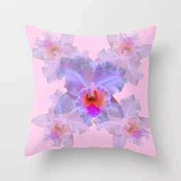 TROPICAL LILAC CATTLEYA ORCHID FLOWERS PINK ART Throw Pillow