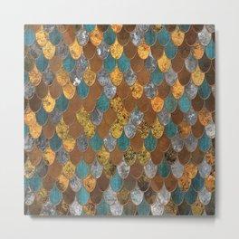 Rusty Ocean Golden Mermaid Scales HJYLE Metal Print