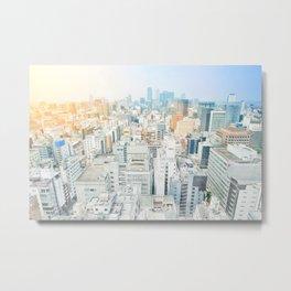 modern city skyline aerial view under sunrise and blue sky in Nagoya, Japan Metal Print