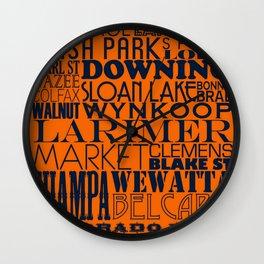 Larimer Denver Orange Wall Clock