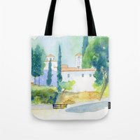 greek Tote Bags featuring Greek monastery by Carl Conway