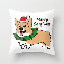 Merry Corgimas Throw Pillow