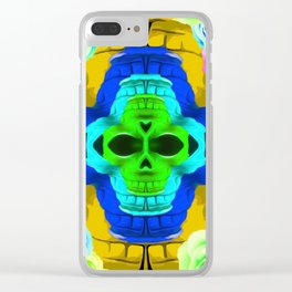 funny skull portrait with colorful roses in pink blue yellow green Clear iPhone Case