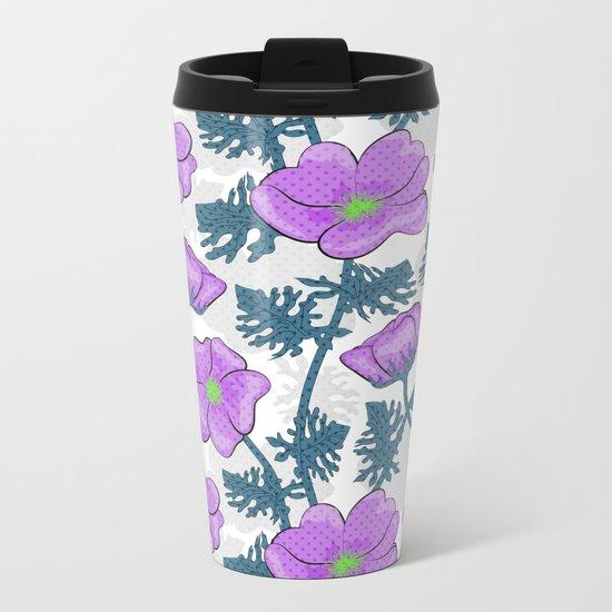 Flowers pink on white background. Metal Travel Mug