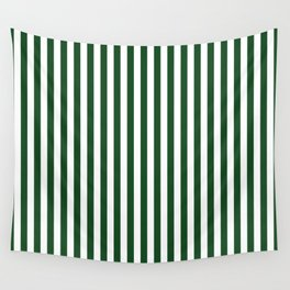 Original Forest Green and White Rustic Vertical Tent Stripes Wall Tapestry