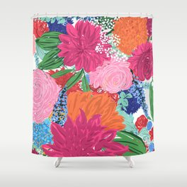 Pretty Colorful Big Flowers Hand Paint Design Shower Curtain