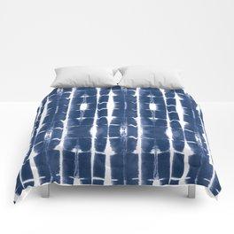 Shibori Stripes 3 Indigo Blue Comforters