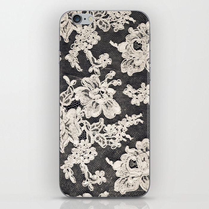 black and white lace- Photograph of vintage lace iPhone Skin