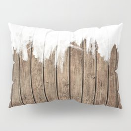 White Abstract Paint on Brown Rustic Striped Wood Pillow Sham