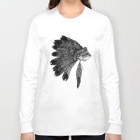 headdress Long Sleeve T-shirts featuring Native Headdress by Caleb Swenson
