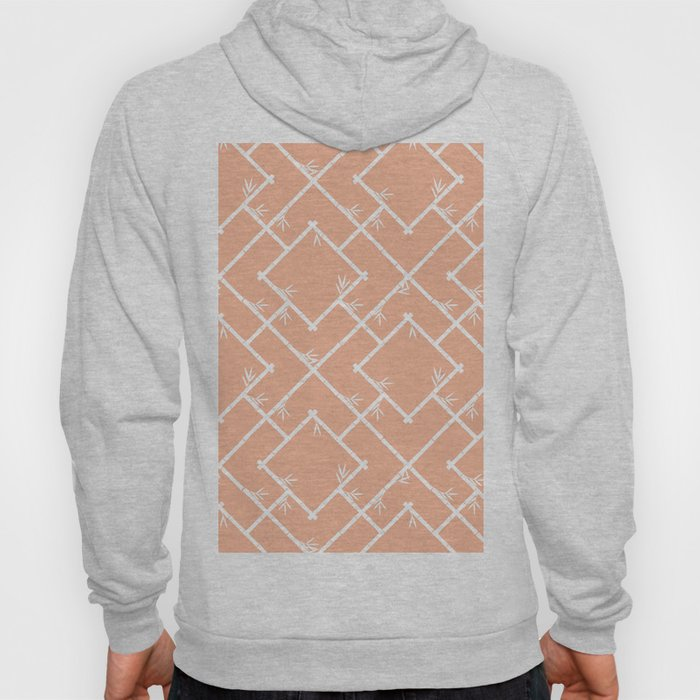 Bamboo Chinoiserie Lattice in Peach + White Hoody