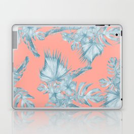 Dreaming of Hawaii Pale Teal Blue on Coral Pink Laptop & iPad Skin