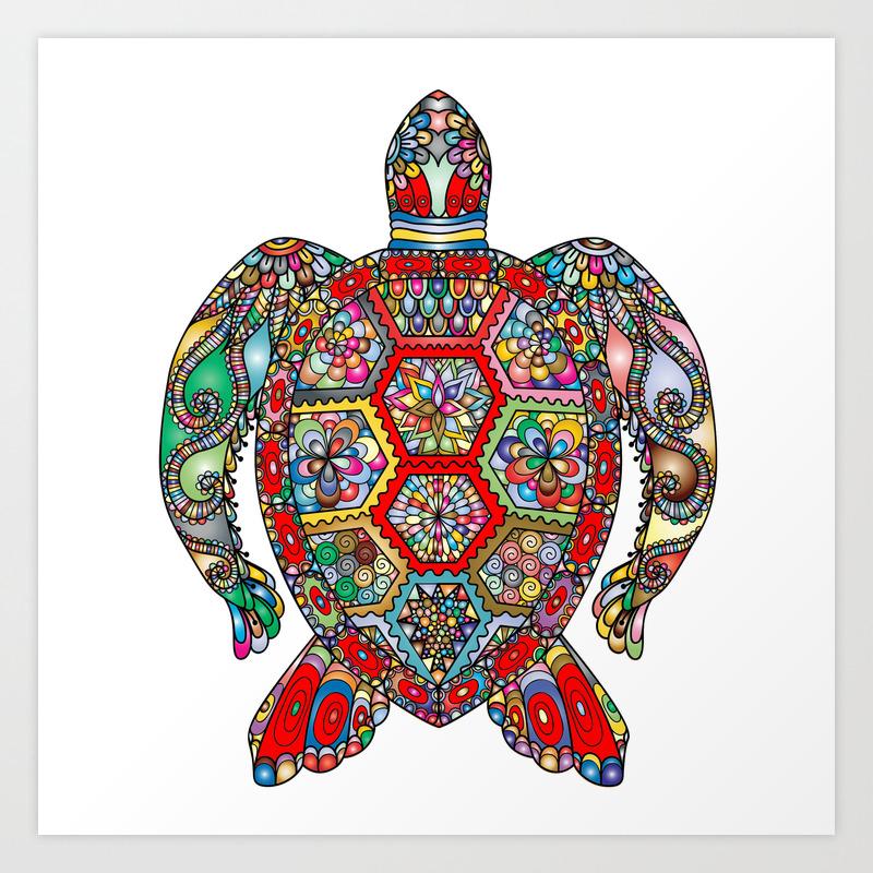 Colorful Sea Turtle Abstract Mandala Art Print