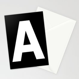 Letter A (White & Black) Stationery Cards
