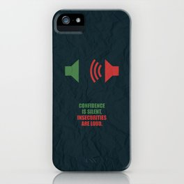 Lab No. 4 -Confidence Is Silent, Insecurities Are Loud Corporate Start-up  Quotes poster iPhone Case