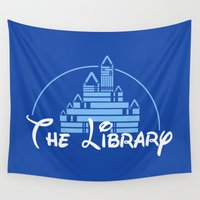 library Wall Tapestries featuring The Library  by bookwormboutique