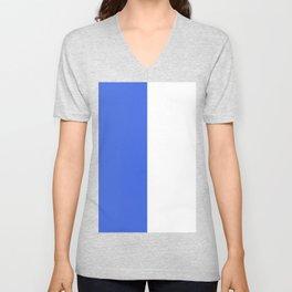 White and Royal Blue Vertical Halves Unisex V-Neck