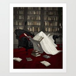 Asleep in the Library Art Print