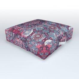 Vintage Boho Burgundy Mandala Outdoor Floor Cushion