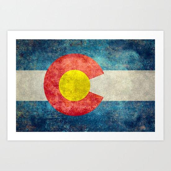 Colorado State Flag in Vintage Grunge Art Print