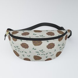 Leaves and cones on grey Fanny Pack