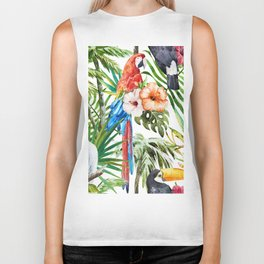 Tropical Bird Pattern 06 Biker Tank