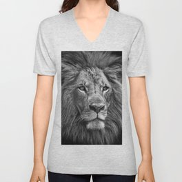 The Lion Portrait (Black and White) Unisex V-Neck