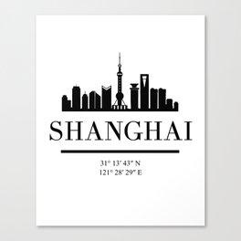 SHANGHAI CHINA BLACK SILHOUETTE SKYLINE ART Canvas Print