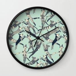 dog party indigo mint Wall Clock