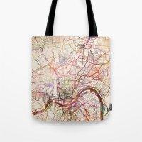 cincinnati Tote Bags featuring Cincinnati by MapMapMaps.Watercolors
