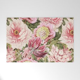 Vintage & Shabby Chic Floral Peony & Lily Flowers Watercolor Pattern Welcome Mat