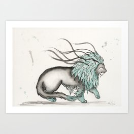 Triclinic the Turquoise Lion. Art Print