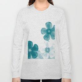 Retro 70s Flowers Turquoise Long Sleeve T-shirt