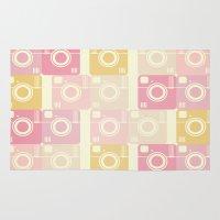 cameras Area & Throw Rugs featuring Cameras by Yasmina Baggili