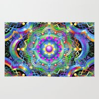 psychedelic art Area & Throw Rugs featuring Mandala Psychedelic Art Design by BluedarkArt