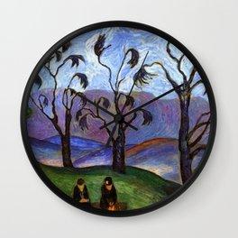 'Lovers Walk' pastoral landscape painting by Marianne von Werefkin Wall Clock
