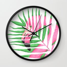 Pink Flamingo Palm Leaf Wall Clock