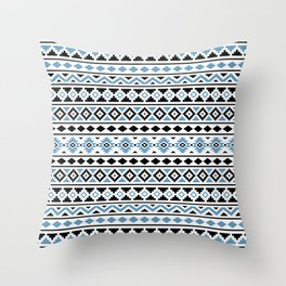 Aztec Essence Pattern II Light Blue Black White Throw Pillow