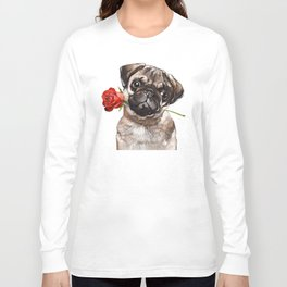 Pug with Red Rose Long Sleeve T-shirt