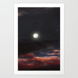 Dawn's moon Art Print