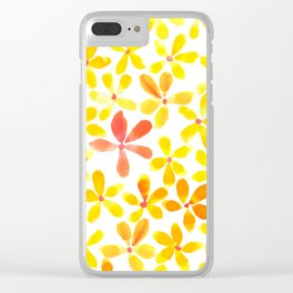 Retro Flowers - Yellow and Orange Clear iPhone Case