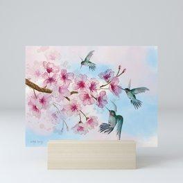 Cherry Blossom and Hummingbirds Mini Art Print