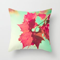 Red Maple Leafs Throw Pillow