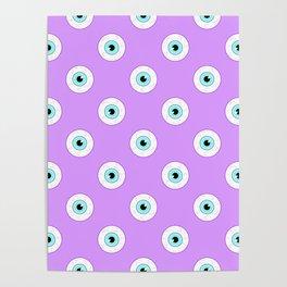 Blue Eyes on Purple Poster