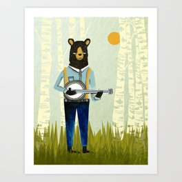 Bear's Bourree - Bear Playing Banjo Art Print
