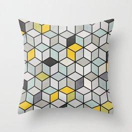 Colorful hexagon concrete cubes Throw Pillow