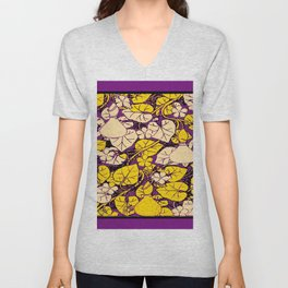 Grape Purple & Cream Garden Vines Yellow Design Unisex V-Neck