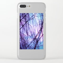 Black Trees Periwinkle Lavender Sky Clear iPhone Case
