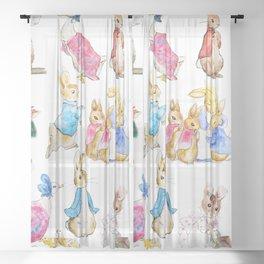 Tales of Peter Rabbit  characters Beatrix Potter Sheer Curtain